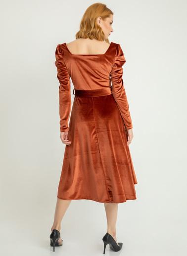 Foremia Karpuz Kol İnci Kadife Elbise Kiremit